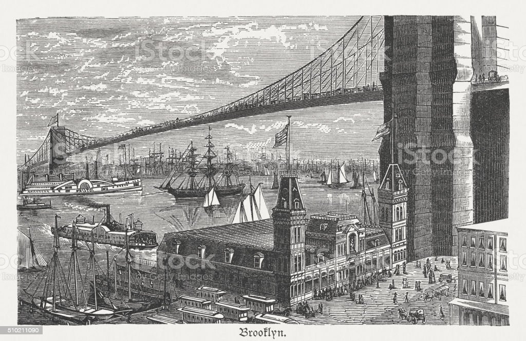 Brooklyn Bridge, New York City, wood engraving, published 1880 vector art illustration
