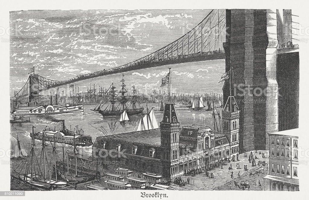 Brooklyn Bridge, New York City, wood engraving, published 1880 vector art illustration