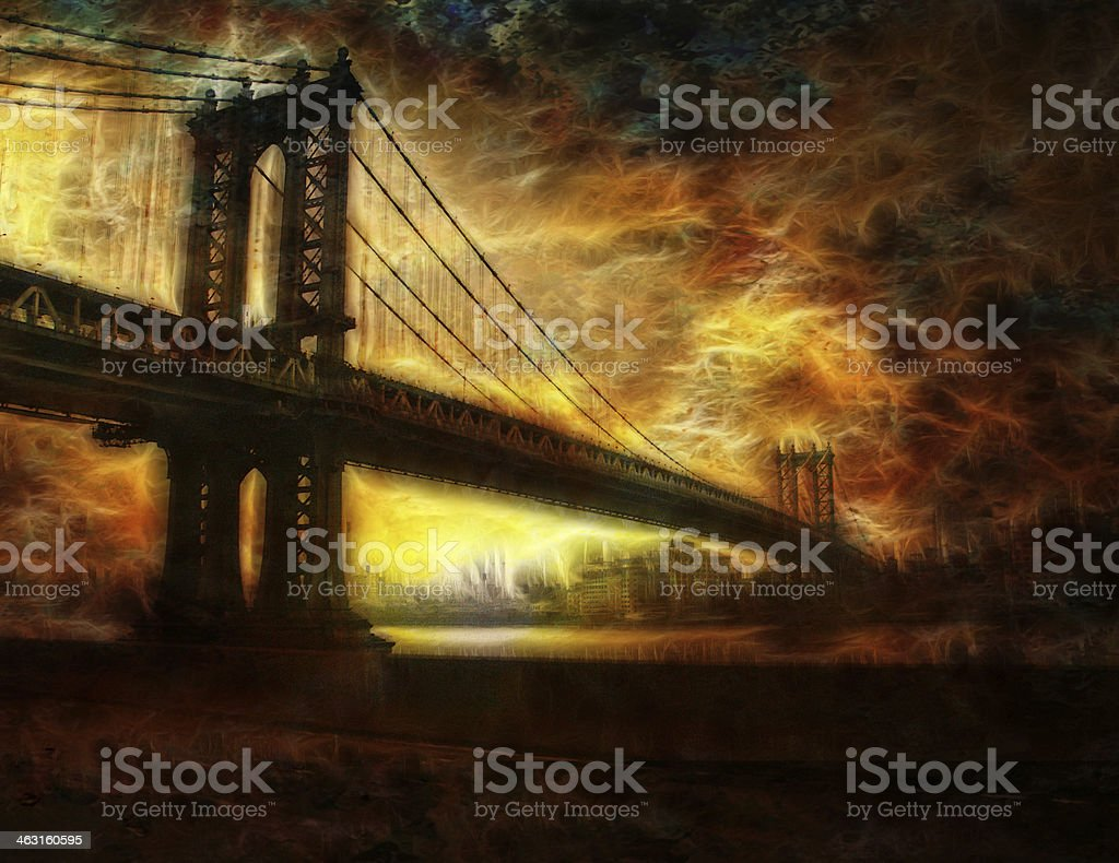Brooklyn Bridge New York vector art illustration