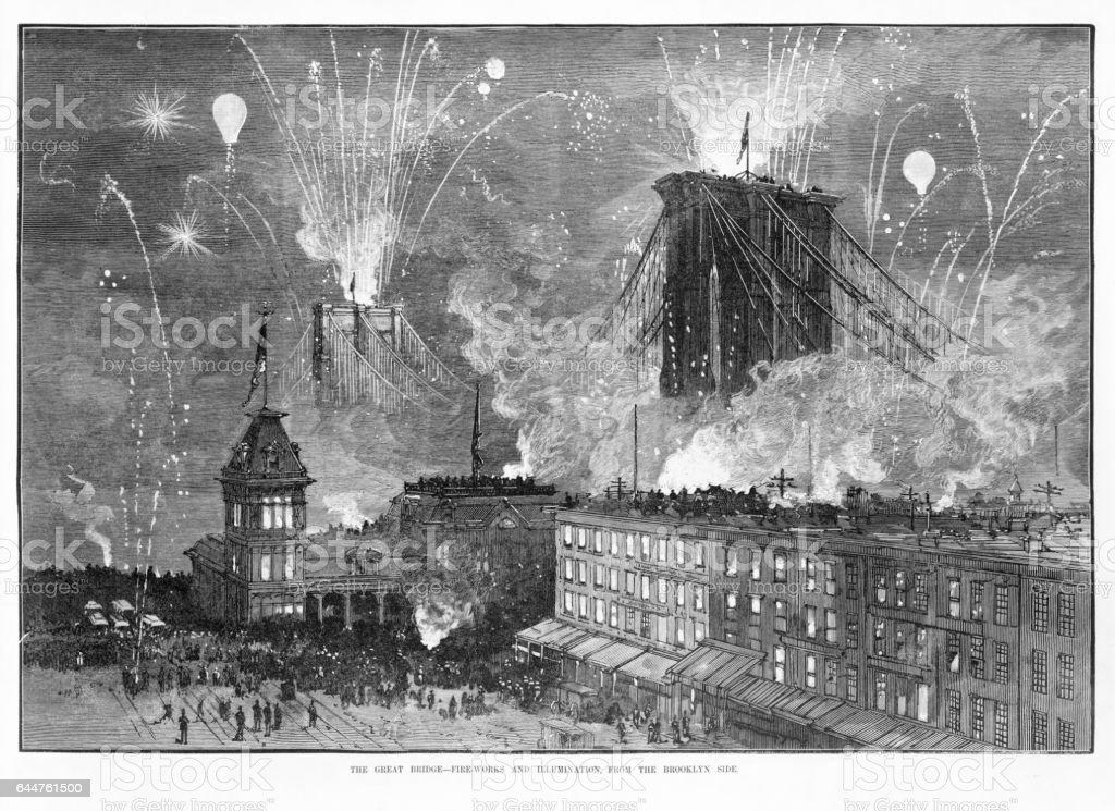 Brooklyn Bridge Opening Celebration Victorian Engraving, 1880 vector art illustration