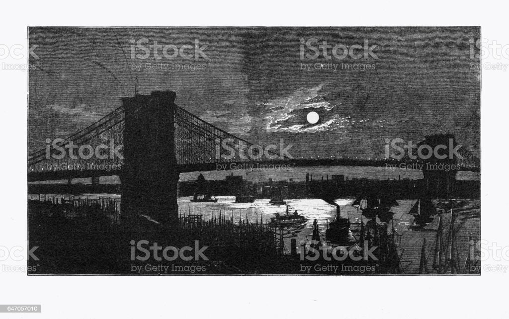 Brooklyn Bridge Over the East River at Night Victorian Engraving, 1883 vector art illustration