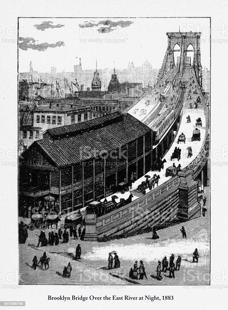 Brooklyn Bridge Victorian Engraving, 1877 vector art illustration