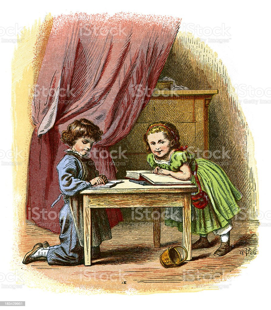 Brother and sister reading books vector art illustration