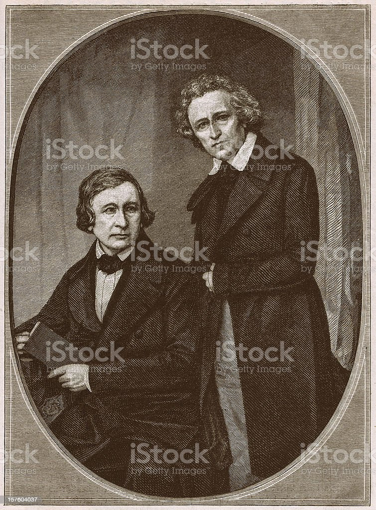 Brothers Wilhelm and Jacob Grimm, wood engraving, published in 1879 royalty-free stock vector art