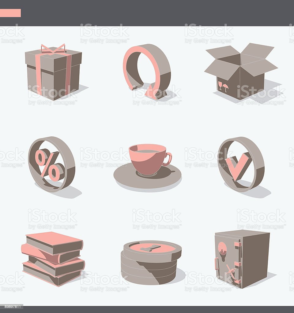 brown 3D icon set 04 royalty-free stock vector art
