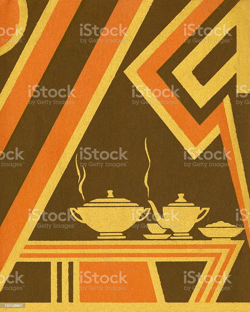 Brown and Orange Art Deco Table royalty-free stock vector art