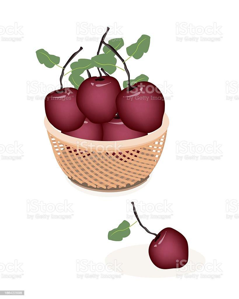 Brown Basket  Fresh Stack of Apple vector art illustration
