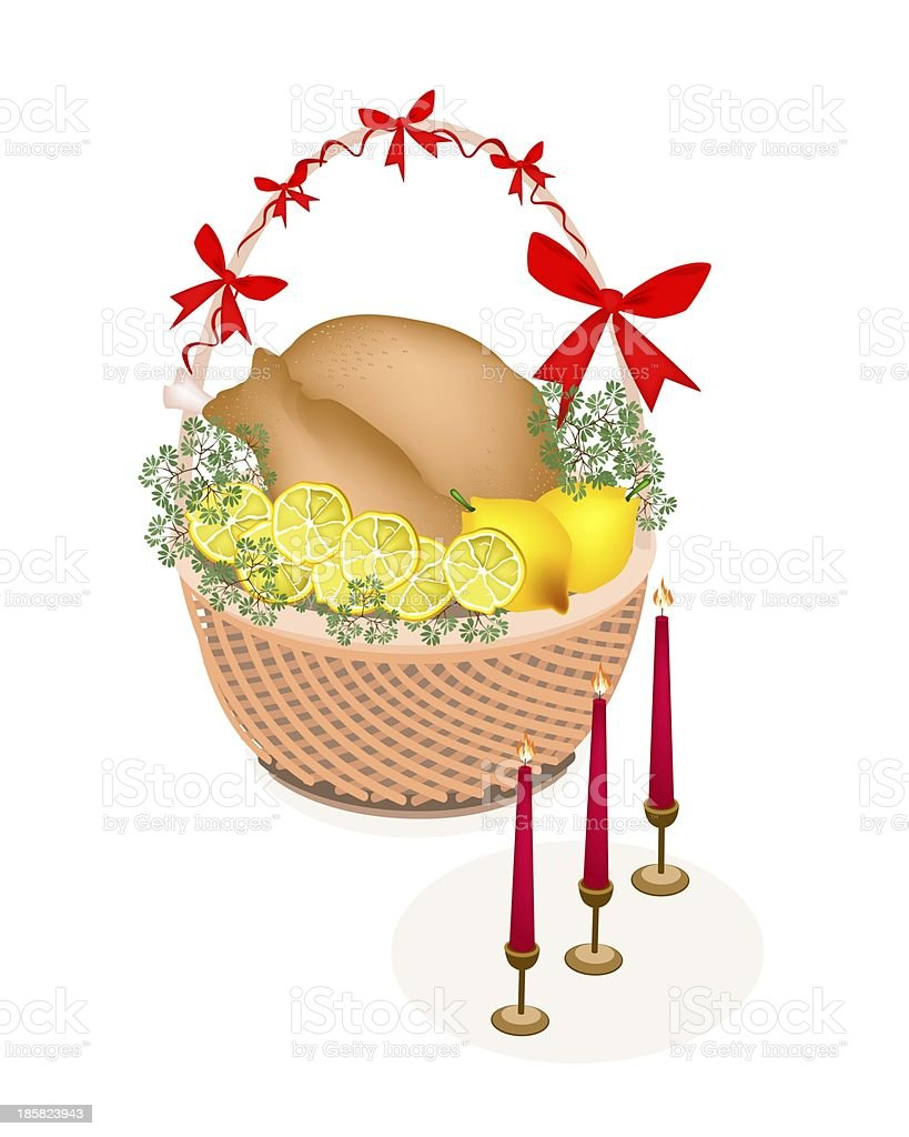 Brown Basket of A Delicious Roast Turkey royalty-free stock vector art