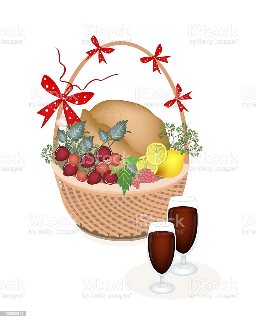 Brown Basket of Thanksgiving Turkey with Wine royalty-free stock vector art