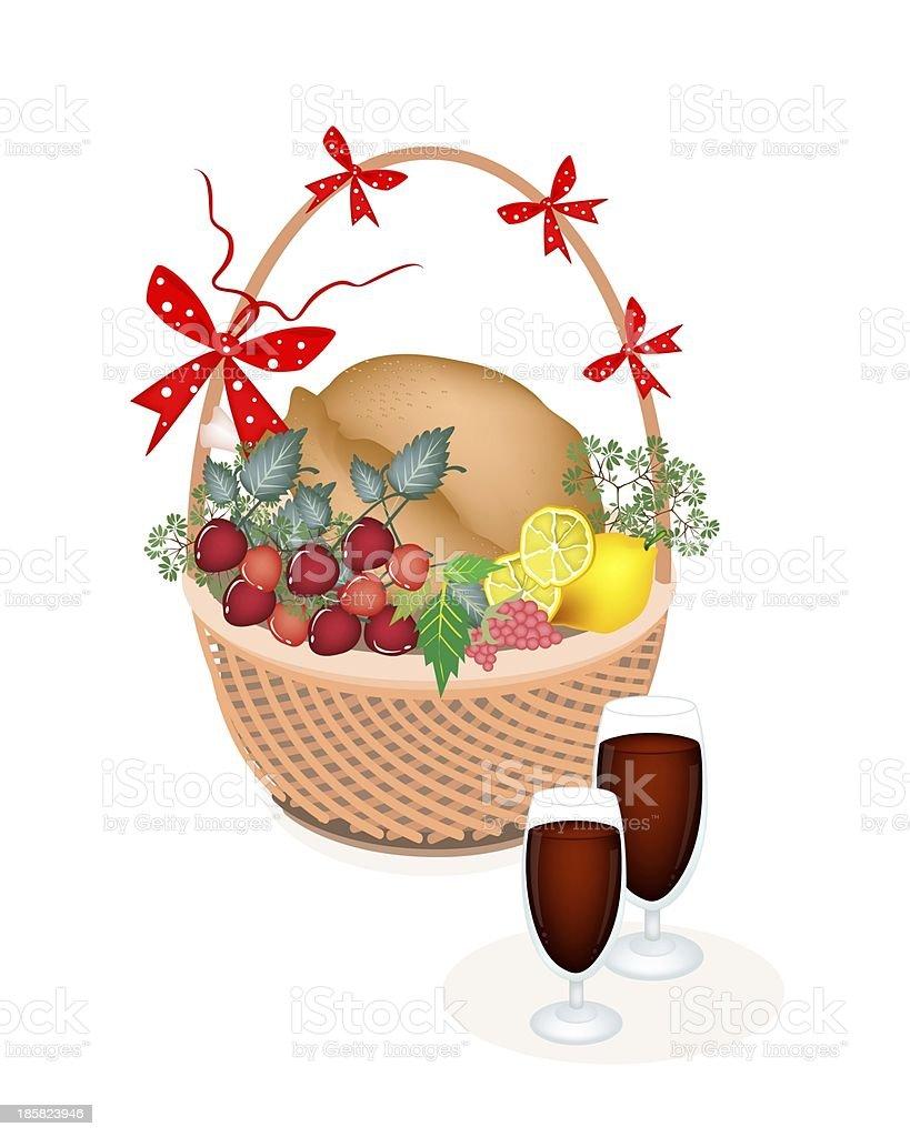 Brown Basket of Thanksgiving Turkey with Wine vector art illustration