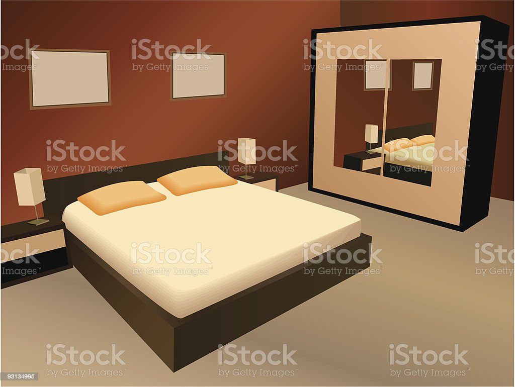 brown bedroom vector vector art illustration