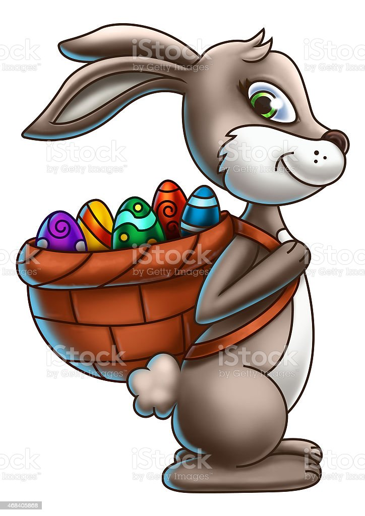 Brown Easter Bunny Carrying A Basket of Eggs vector art illustration