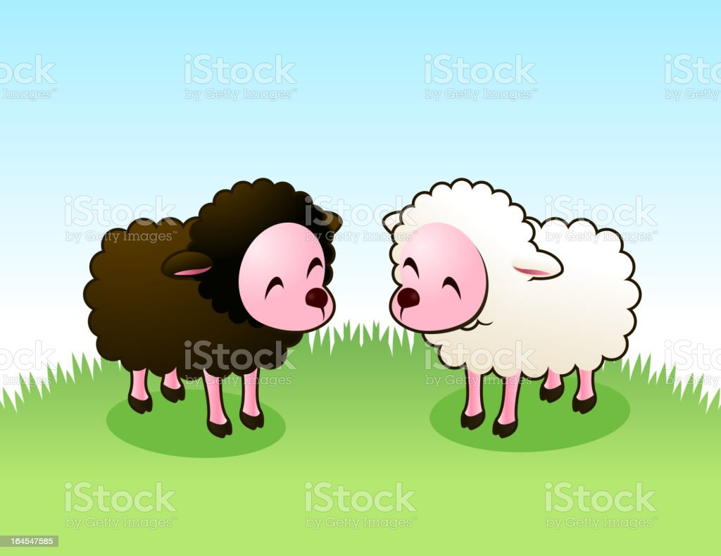 Brown lam and white Sheep staring happily at each other vector art illustration