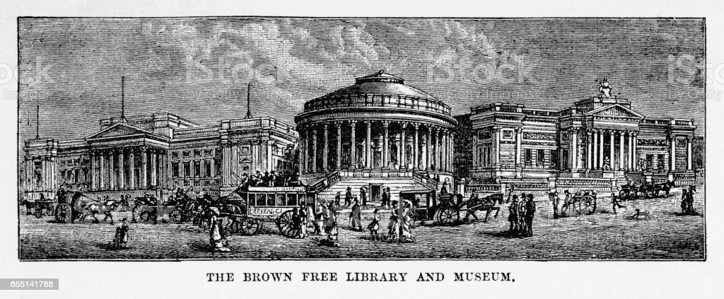 Brown Library and Museum, Liverpool, England Victorian Engraving, 1840 vector art illustration