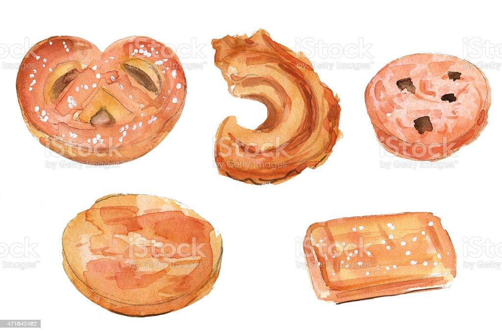 Brown watercolor of traditional Danish butter cookies vector art illustration