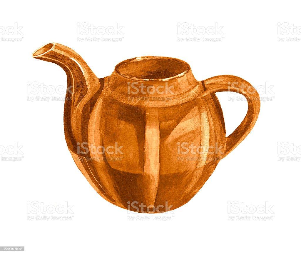 Brown watercolor teapot vector art illustration