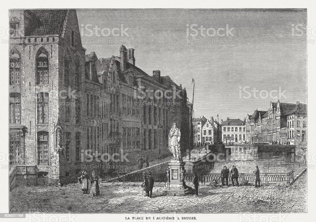 Bruges, Place de l'Académie, wood engraving, published in 1877 vector art illustration