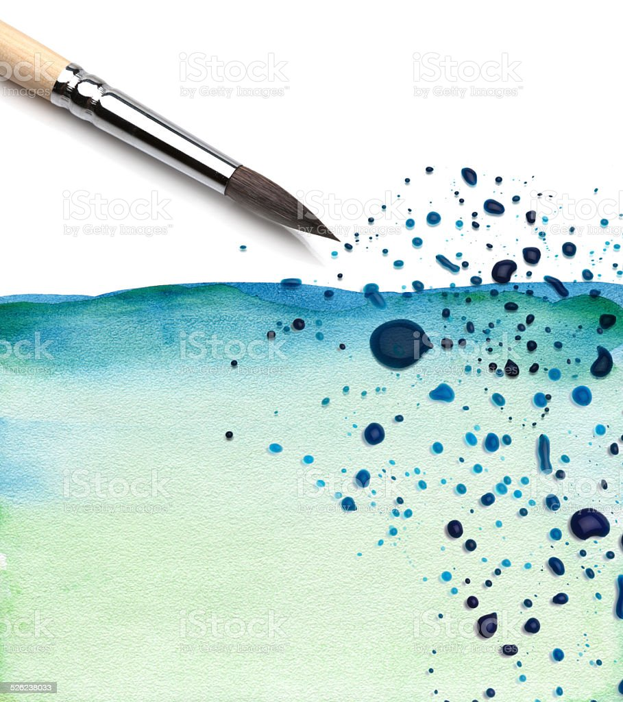 brush and watercolor painted background vector art illustration