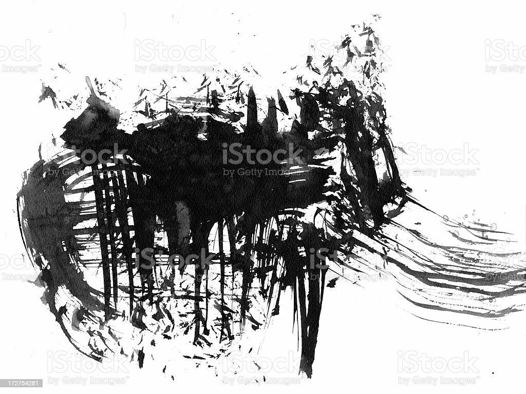 Gebürstetes abstrakte Tinte element Lizenzfreies vektor illustration