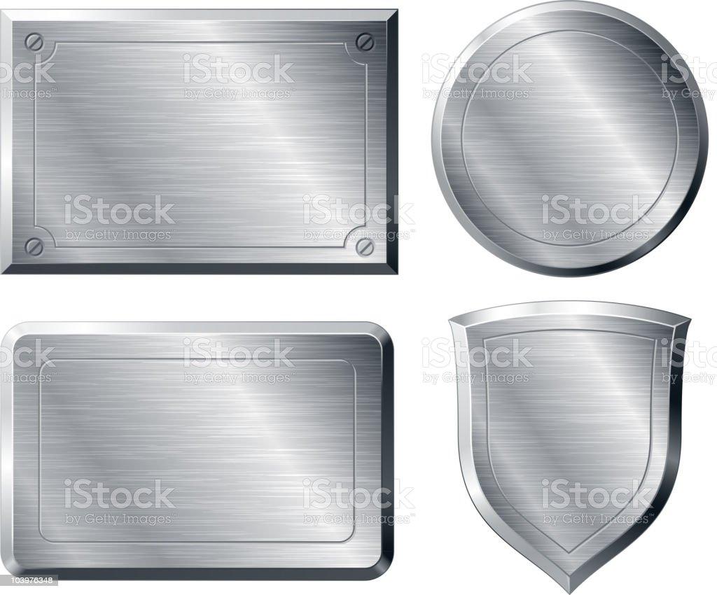 Brushed metal shapes vector art illustration