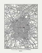 Brussels, Belgium, wood engraving, published in 1882