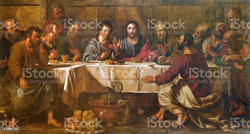 Brussels - Last super of Christ form st. Nicholas church vector art illustration