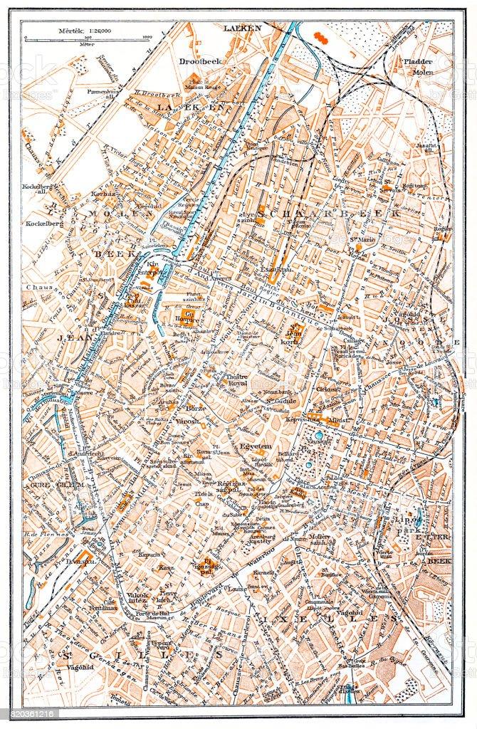 Brussels map vector art illustration