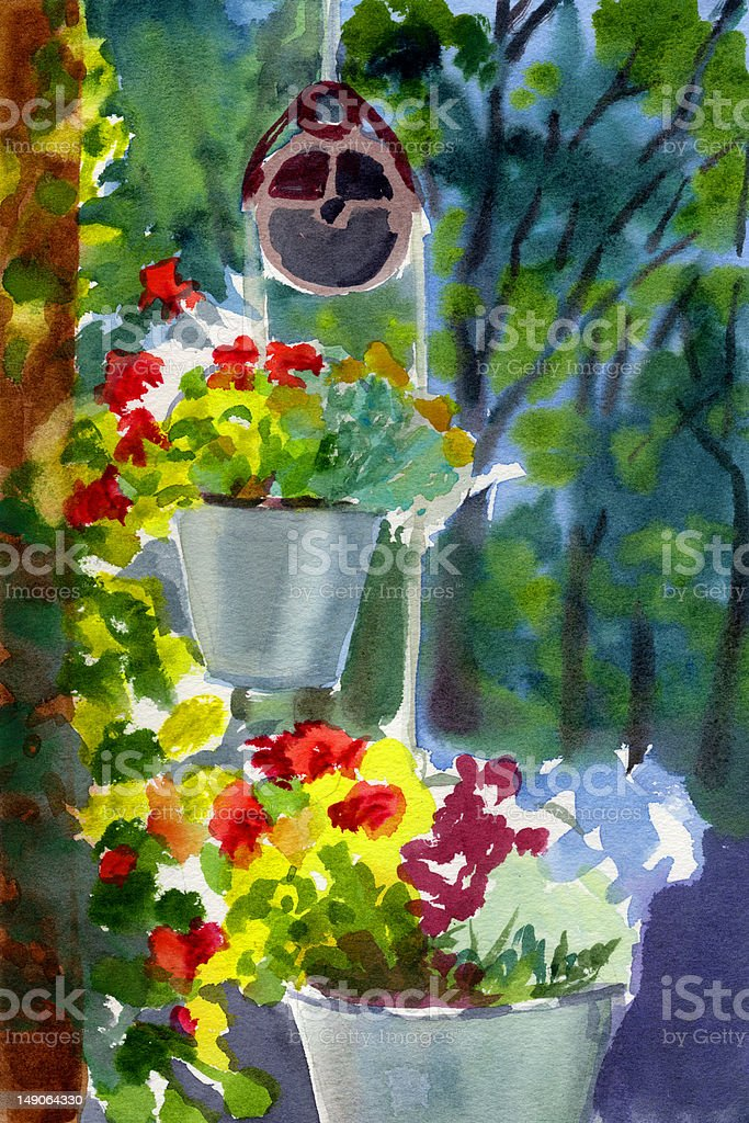 Buckets of Blooms - Watercolor Painting royalty-free stock vector art