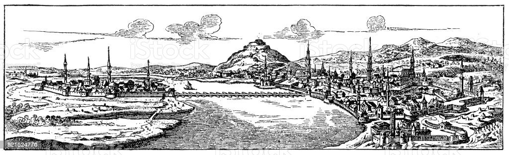 Buda and Pest from 17 century vector art illustration