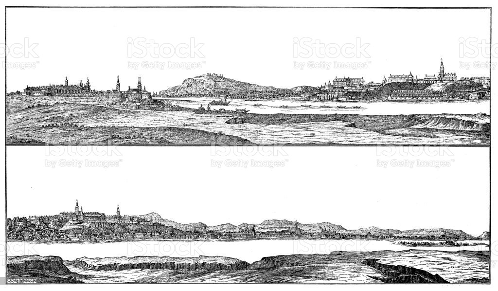 Buda and pest from 1730 vector art illustration