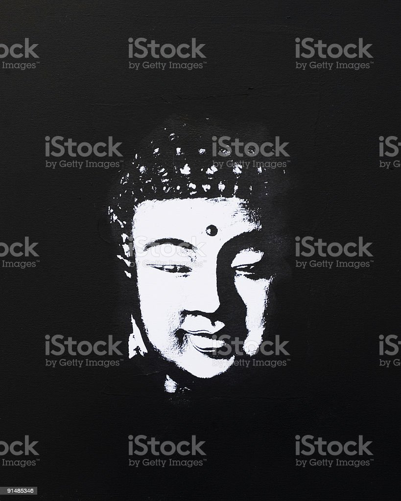 buddha painting black and white royalty-free stock vector art