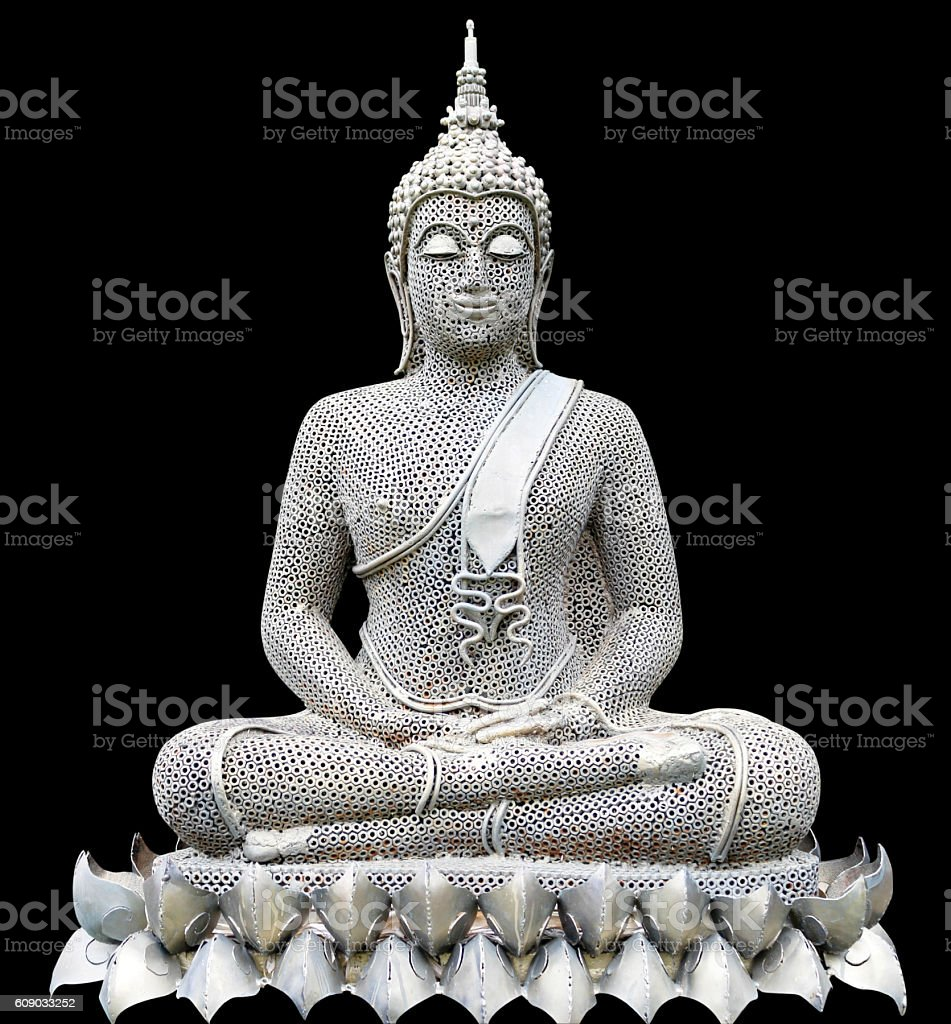 Buddha posture meditation made form old nuts, isolated on black vector art illustration