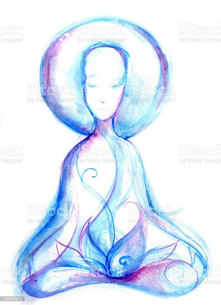 buddha presense vector art illustration