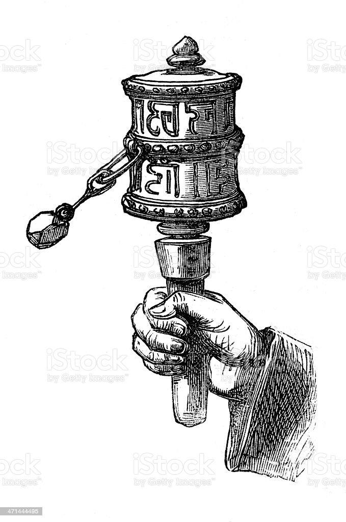 Buddhist hand held prayer wheel in 1867 journal royalty-free stock vector art