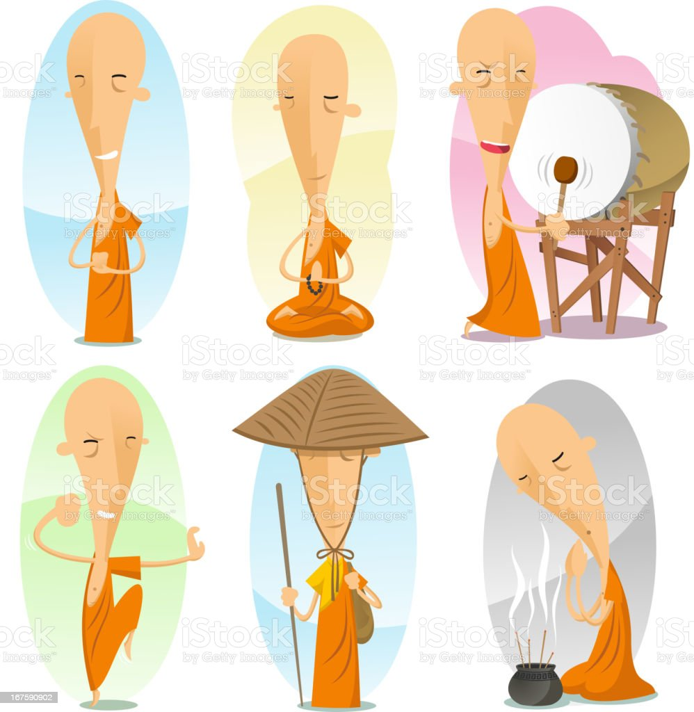 buddhist monk action set vector art illustration