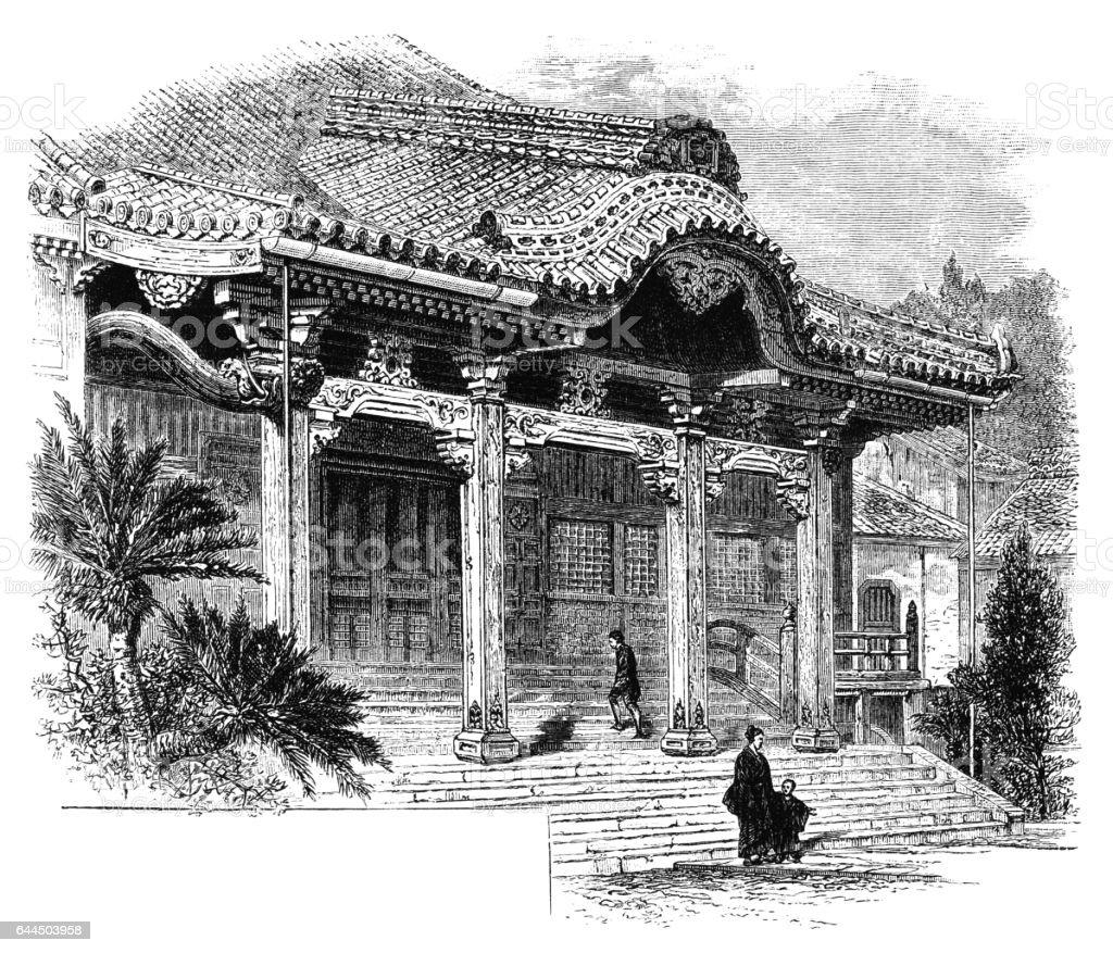 Buddhist temple, Nagasaki - Victorian engraving vector art illustration