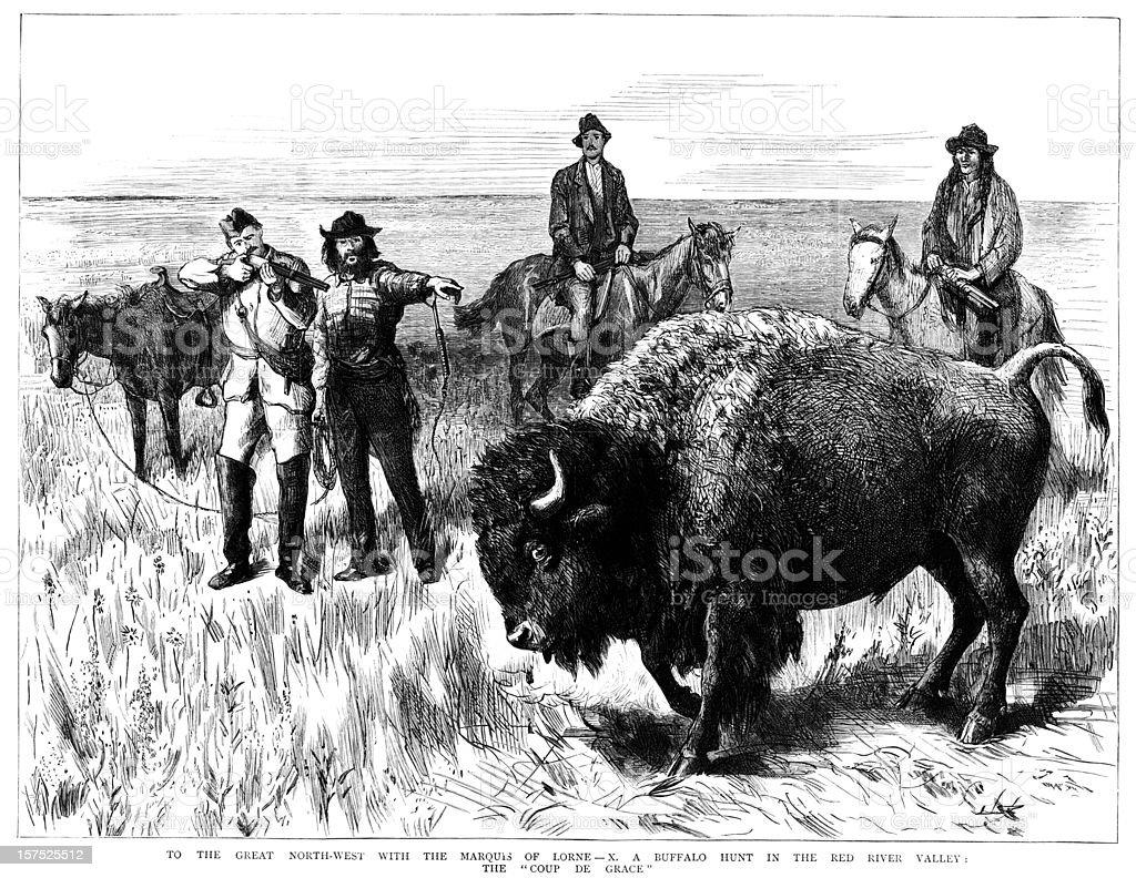 Buffalo Hunt - Victorian illustration royalty-free stock vector art