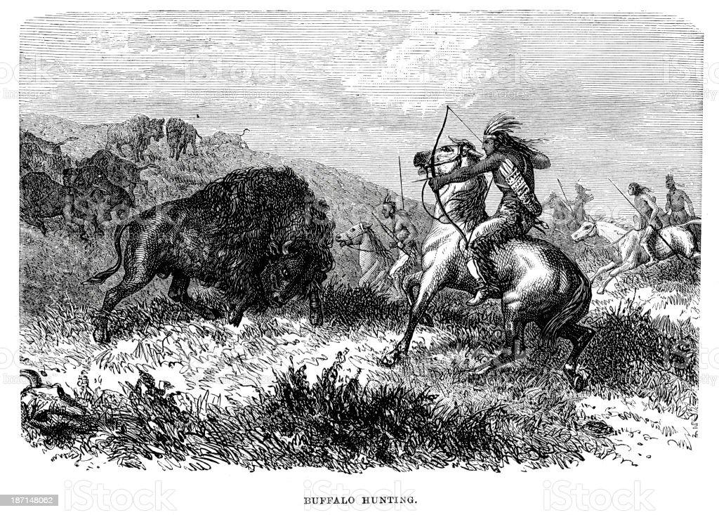 Buffalo Hunting royalty-free stock vector art