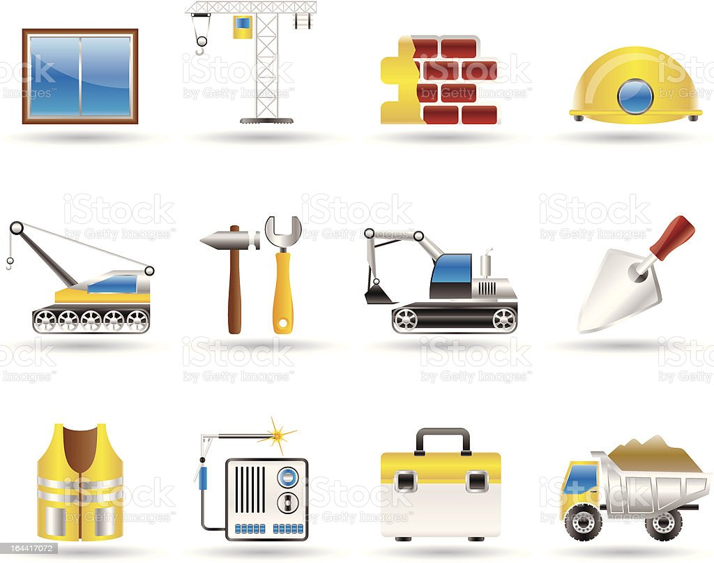 building and construction icons royalty-free stock vector art