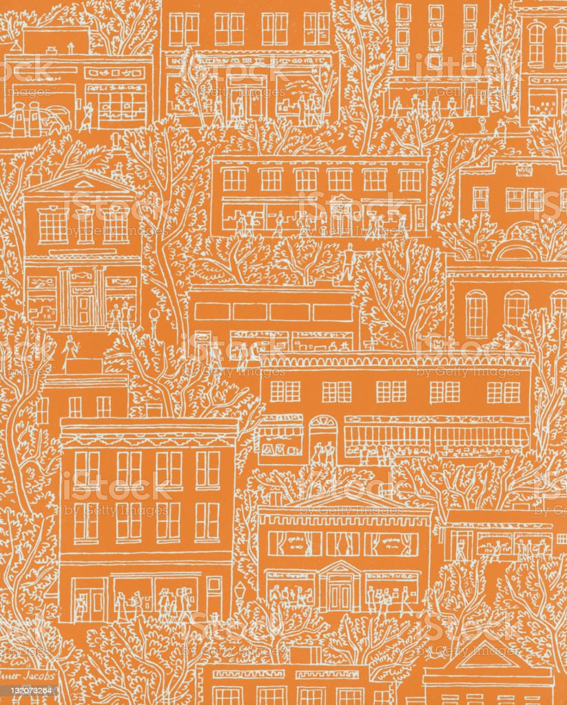 Buildings and Trees Pattern vector art illustration