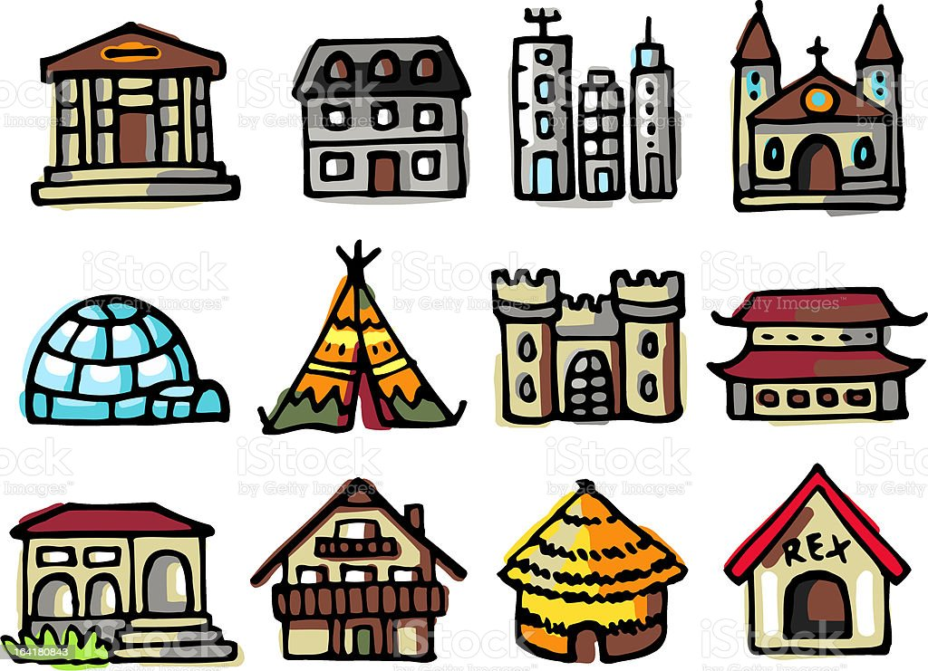 buildings icon set royalty-free stock vector art