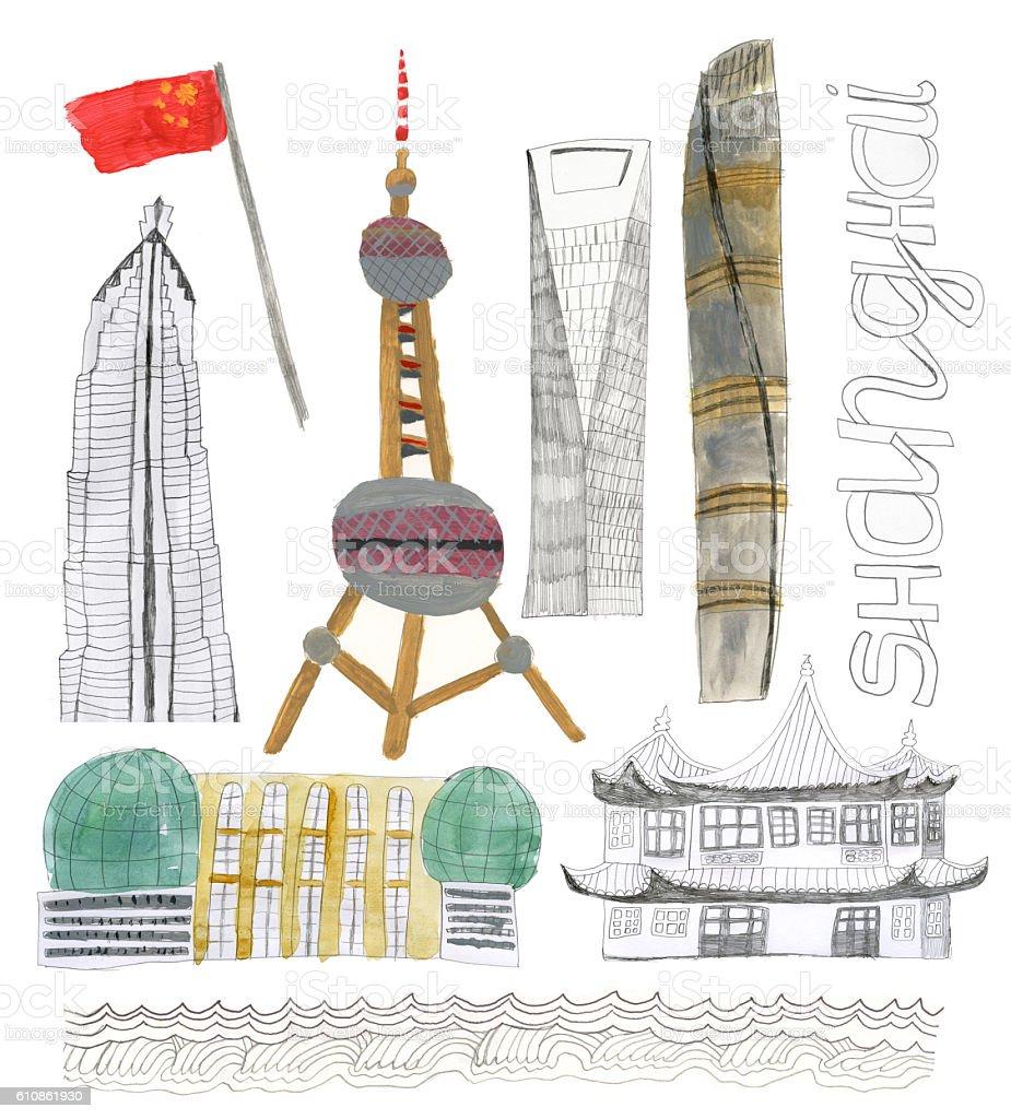 Buildings of Shanghai, China vector art illustration