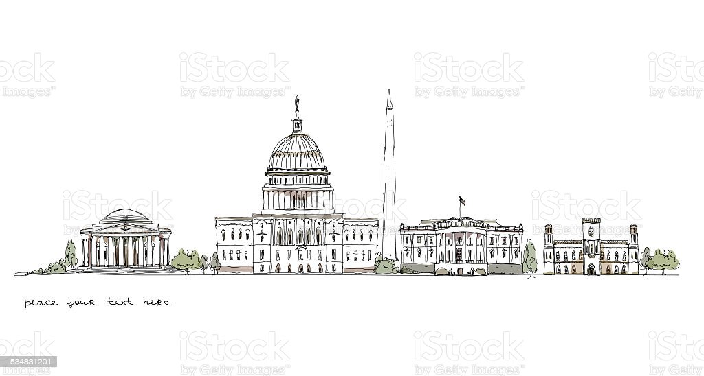 Buildings of Washington, sketch collection vector art illustration