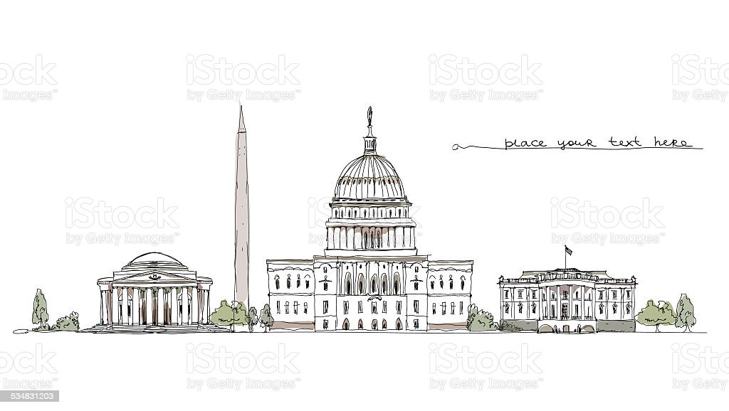 Buildings of Washington, sketch collection vector art illustration