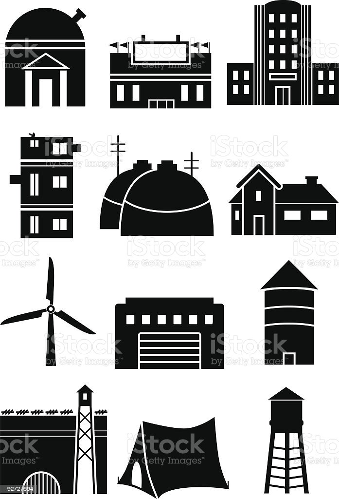 Built Structures vector art illustration