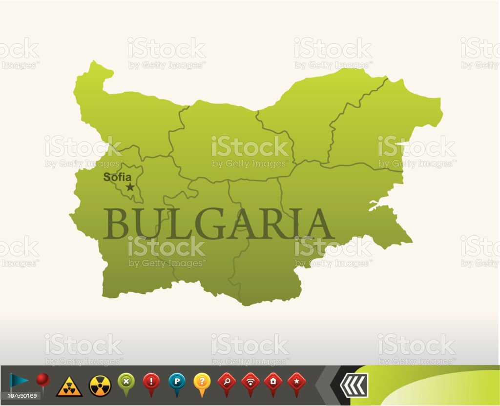 Bulgaria map with navigation icons royalty-free stock vector art