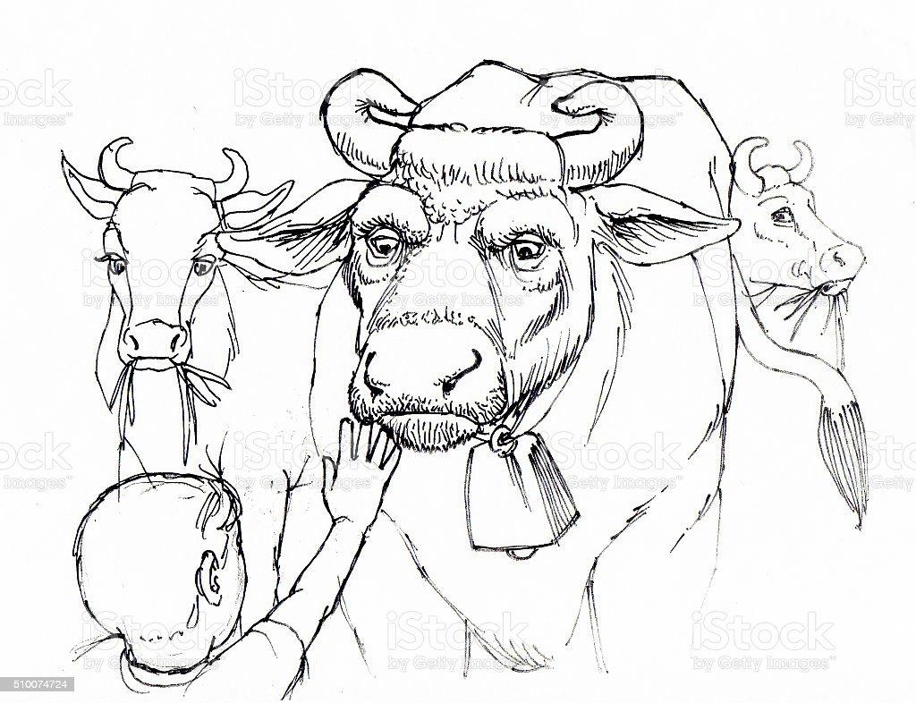 Bull und Kind Lizenzfreies vektor illustration
