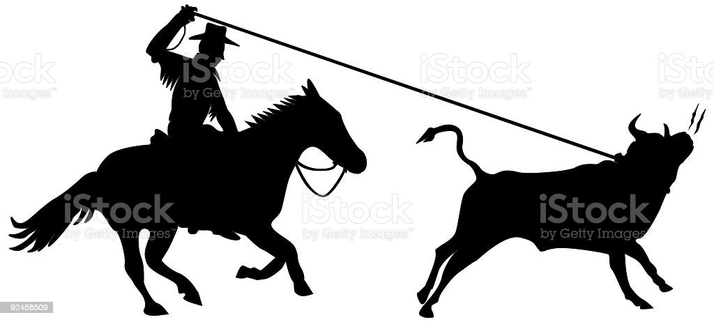 Bull Lasso (Vector) royalty-free stock vector art