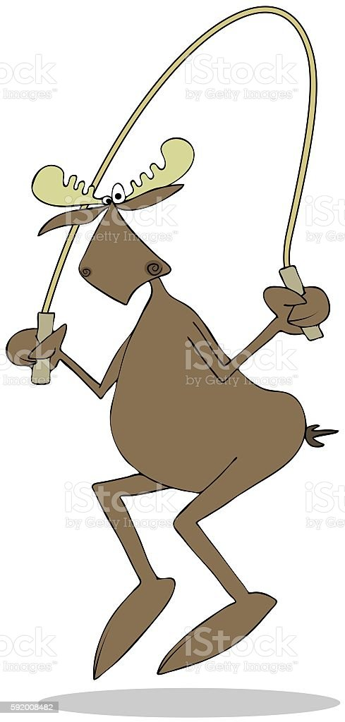 Bull moose jumping the rope vector art illustration