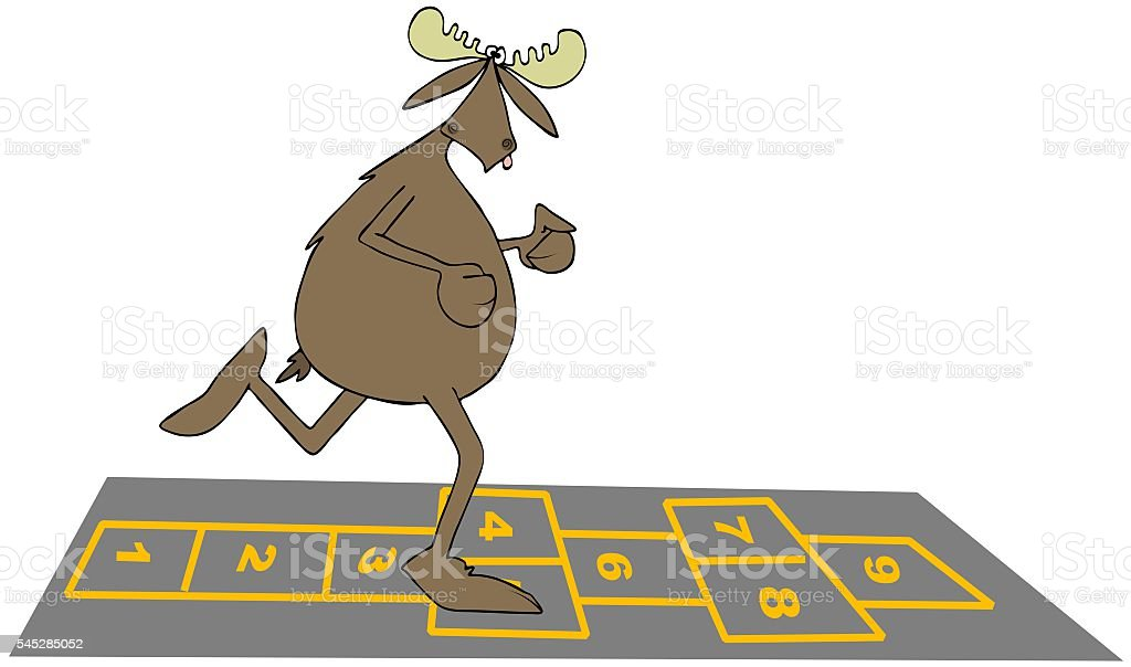 Bull moose playing hopscotch vector art illustration
